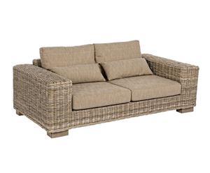 Sofá de madera de mango, algodón y fibra sintética I - beige