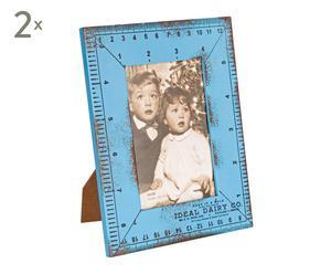 Set de 2 marcos de foto en DM, azul - 17x22 cm