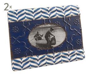 Set de 2 marcos de foto Gustav, azul - 10x15 cm