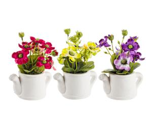 Set de 3 plantas artificiales con maceta Anemone