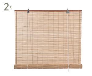 Set de 2 estores de bambú y algodón III - natural