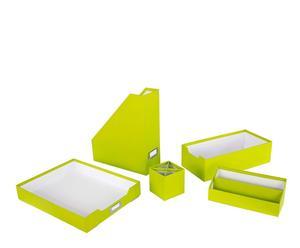Set de 5 accesorios de oficina de cartón - verde
