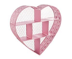 Estantería de metal en forma de corazón - rosa
