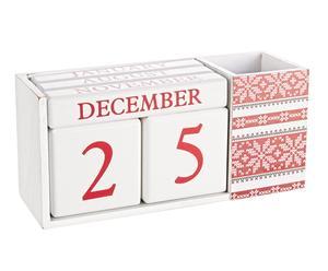 Calendario de madera DM Joy - blanco y rojo