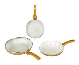 Set de 3 sartenes en cerámica - dorado