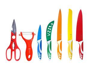 Set de 5 cuchillos, tijera y pelador en acero Hippo Line