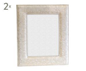 Set de 2 marcos en polipiel para fotos de 20x25 cm - blanco