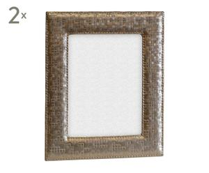 Set de 2 marcos en polipiel para fotos de 10x15 cm - gris