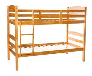 Litera en madera de pino con escalera y barandilla