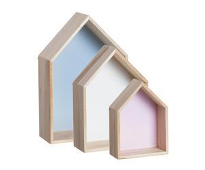 Set de 3 estanterías de madera Casa
