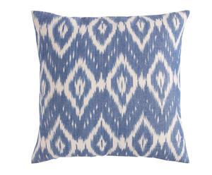 Cojín Ikat de algodón, azul y blanco - 45x45 cm