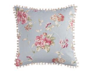 Cojín Flores de poliéster y agodón, azul y multicolor - 45x45 cm