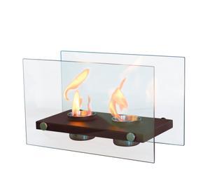 Biochimenea de acero y cristal Oniros Duo - negra