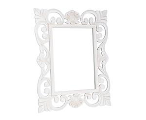Espejo de pared de madera de pino, blanco - 60x80 cm
