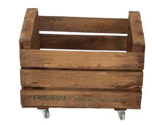 Caja de fruta antigua de madera de pino con ruedas II - 33x50 cm