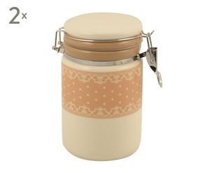 Set de 2 recipientes de cerámica y metal Cocina I