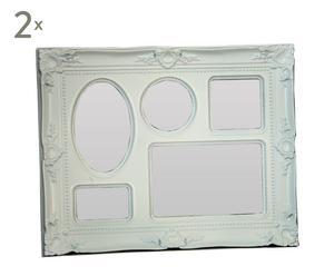 Set de 2 marcos de fotos de melamina para 5 fotos – blanco