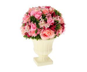 Centro de flores artificiales con maceta – rosa I