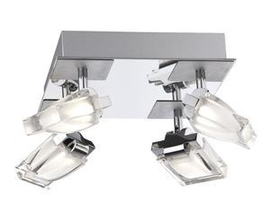 Plafón de led con 4 focos - cromo brillo