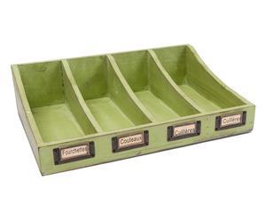 Organizador de cubiertos de madera de abeto - verde
