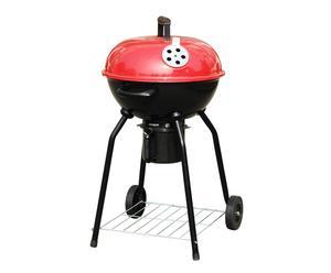 Barbacoa redonda con tapa – rojo y negro