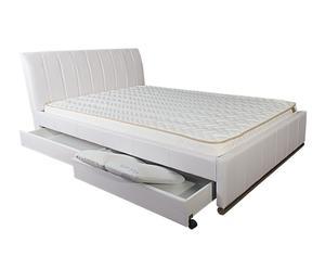 Estructura de cama con cabecero y cajones, blanco – 140x200cm