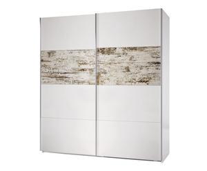 Armario de puertas correderas en melamina Arc - blanco y beige