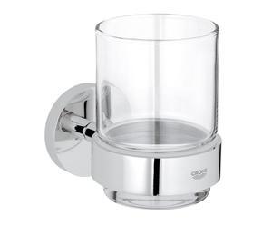 Vaso para cepillos en latón y vidrio Basic - cromo