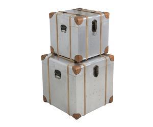 Set de 2 baúles cuadrados de madera y aluminio - plata