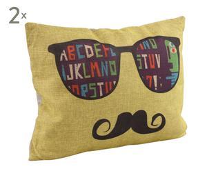 Set de 2 cojines tela de saco moustache, amarillo - rectangular