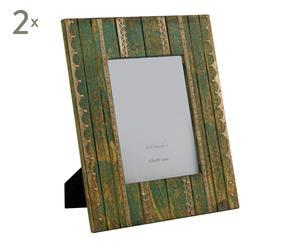 Set de 2 marcos de fotos en madera y metal, verde – 15x20 cm