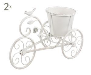 Set de 2 soportes para macetas de forja Bicicleta II - blanco