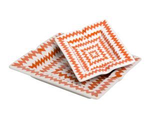 Set de 2 ceniceros de porcelana - naranja y blanco