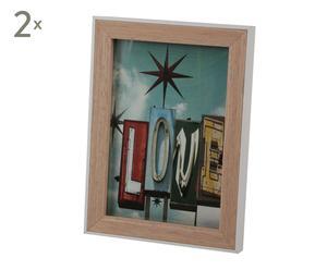 Set de 2 marcos de fotos en madera DM, blanco - 15x20 cm