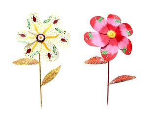 Set de 2 flores en chapa pintadas a mano