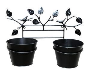 Porta macetas para 2 macetas en forja Birds