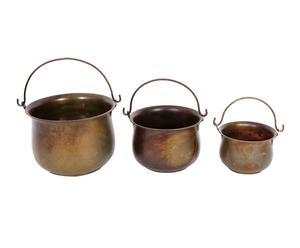 Set de 3 calderos de chapa con asa