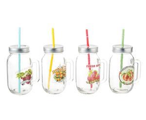Set de 4 vasos con asa Fruits
