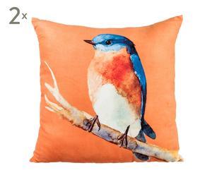Set de 2 cojines de poliéster Bird – naranja y multicolor