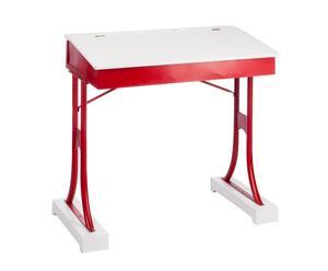 Pupitre en hierro y madera de abeto - blanco y rojo - 80x48x83 cm