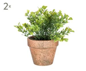 Set de 2 plantas artificiales con maceta