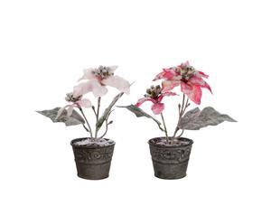 Set de 2 flores decorativas con maceta