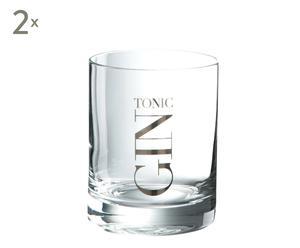 Set de 2 vasos en vidrio para gin tonic - Ø8,4 cm