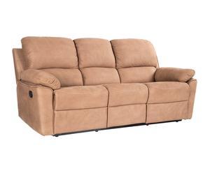 Sofá de madera y tapizado en tela de nobuk - marrón