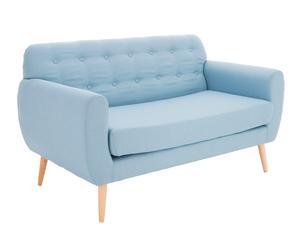 Sofá de 2 plazas de madera de abedul y poliéster Gentleman - azul