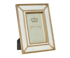 Marco de fotos de poliresona, beige y dorado - 23x18 cm
