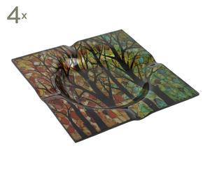Set de 4 ceniceros de cristal Árbol - multicolor