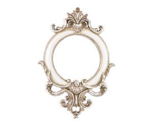 Espejo de pared en resina, blanco y dorado - pequeño