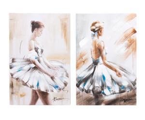 Set de 2 cuadros pintados a mano Bailarina - 60x90 cm