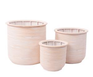 Set de 3 maceteros de bambú – blanco decapado
